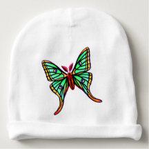 Green Spanish Moon Moth Baby Hat Baby Beanie