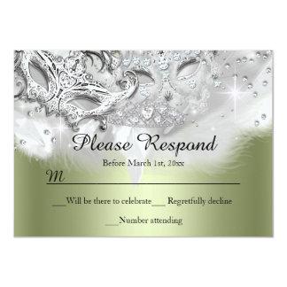 Green Sparkle Masquerade RSVP Reply 11 Cm X 16 Cm Invitation Card