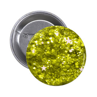 Green sparkles glitter and stars button