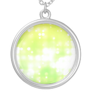 Green Sparkles Round Pendant Necklace