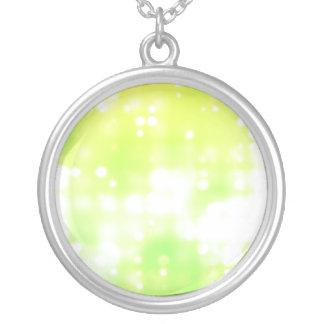 Green Sparkles Round Pendant Necklace
