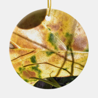 Green speckled yellow leaf in grass christmas tree ornaments