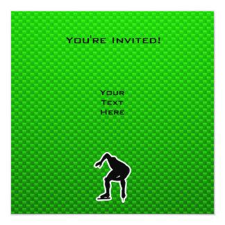 Green Speed Skater 13 Cm X 13 Cm Square Invitation Card
