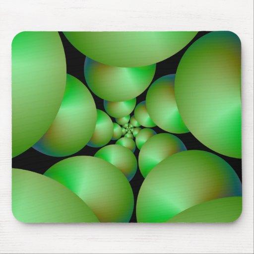 Green Sphere Spiral Rose Mousepad