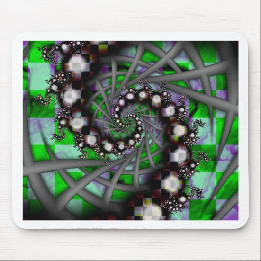 Green Sphere Spirals Mouse Pads