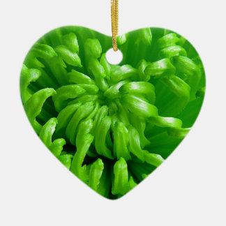 Green Spider Mums Ceramic Heart Decoration