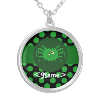 Green Spider with Green Dots Round Pendant Necklace