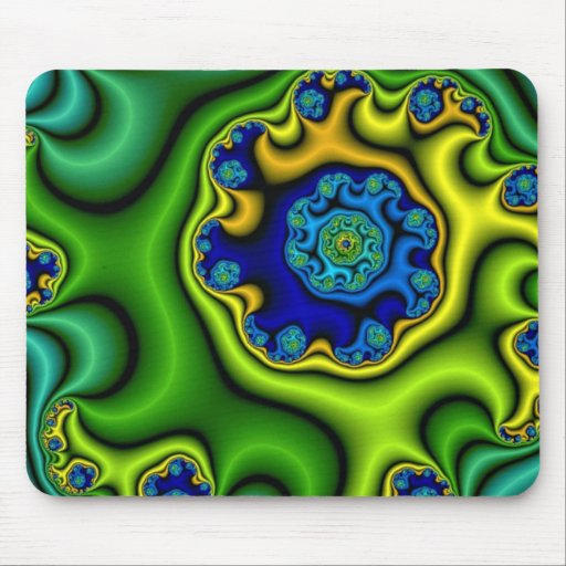 Green spiral curtain mouse pads