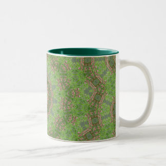 Green spiral fractal design Two-Tone mug