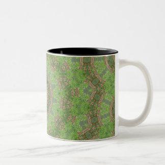 Green spiral fractal design coffee mugs