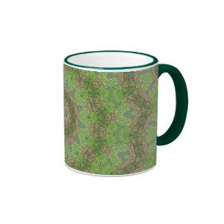 Green spiral fractal design ringer mug