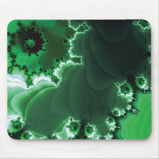 Green Spiral Fractal Mouse Pad