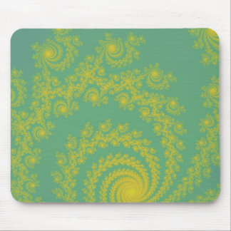 Green Spiral Fractal Mouse Pads