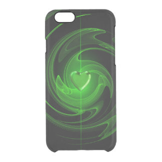 Green spiral heart clear iPhone 6/6S case