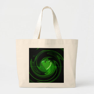 Green spiral heart large tote bag
