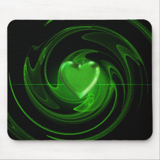 Green spiral heart mouse pad