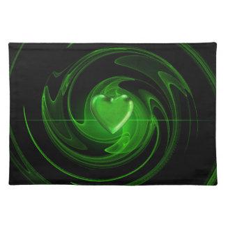 Green spiral heart placemat
