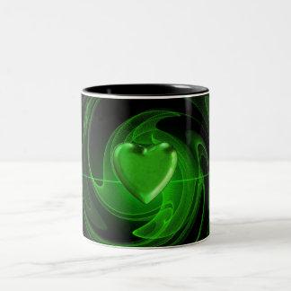 Green spiral heart Two-Tone coffee mug
