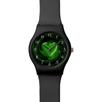 Green spiral heart watch