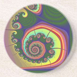 Green Spiral Jewel Fractal Coaster
