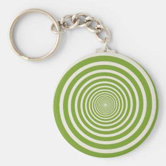 Green spiral optical illusion basic round button key ring