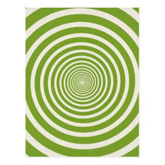 Green spiral optical illusion postcard