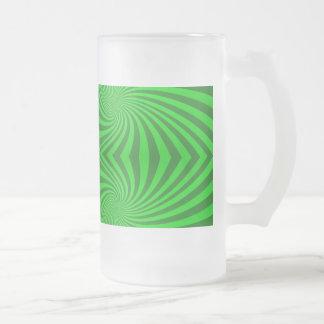 Green spiral pattern glass beer mugs