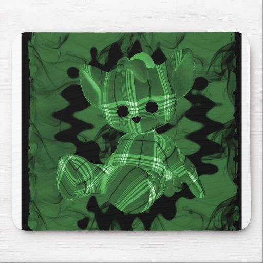 Green Spiral Smoke Teddy Bear Mouse Pads