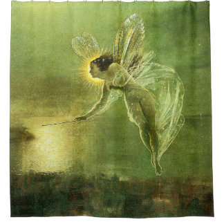 Green Spirit Of The Night Fairy Shower Curtain