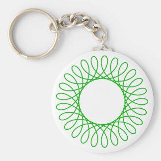 Green Spirograph Basic Round Button Key Ring