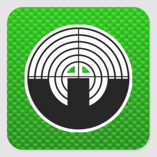 Green Sport Shooting Square Stickers