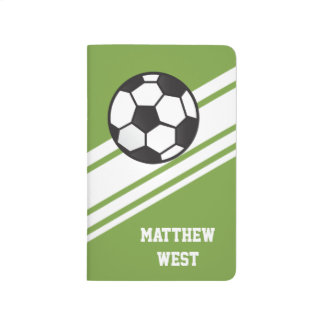 Green Sporty Stripes Personalized Soccer Journal
