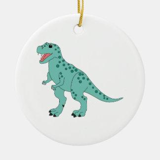 Green Spotted Cute T-Rex Dinosaur Christmas Ornament