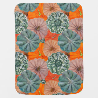 Green, spotted, orange and pink watercolor pumpkin baby blanket