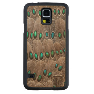 Green Spotted Pheasant Feathers Carved Maple Galaxy S5 Case