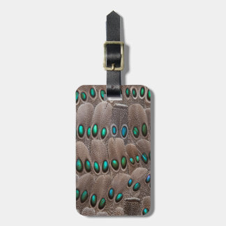 Green Spotted Pheasant Feathers Luggage Tag