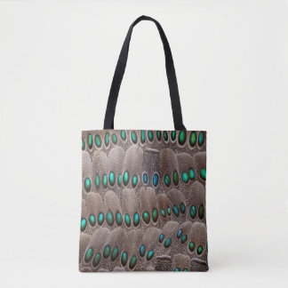 Green Spotted Pheasant Feathers Tote Bag