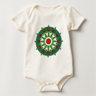 Green Spring Growth Wheel Mandala Baby Bodysuit