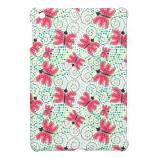 Green spring halftones pink butterflies iPad mini cover