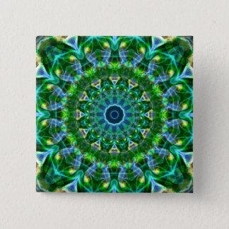 Green Spring Kaleidoscope 15 Cm Square Badge