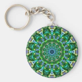Green Spring Kaleidoscope Basic Round Button Key Ring
