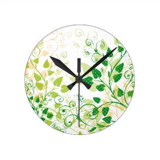 Green Spring Leafs Wall Clocks