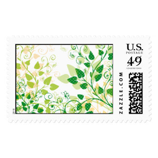 Green Spring Leaves Stamps