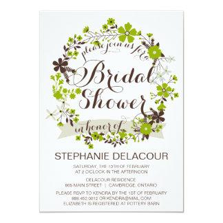 Green Spring Wreath Bridal Shower Invitations