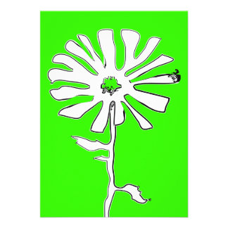 green squiggle flower custom announcements