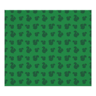 Green squirrel pattern poster