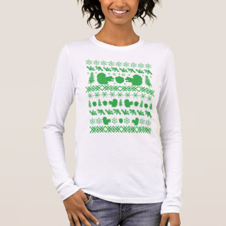 """Green Squirrel """"Ugly Christmas Sweater"""" Long Sleeve T-Shirt"""