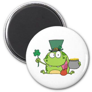 Green St Patricks Day Leprechaun Frog Magnet