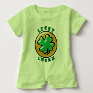 Green St. Patrick's Day Lucky Charm Clover Baby Bodysuit