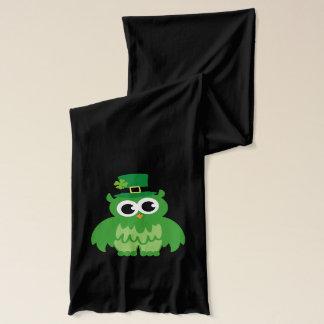 Green St Patricks Day scarf | Funny owl leprechaun